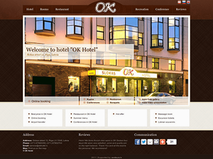 OK Hotel - Development of website